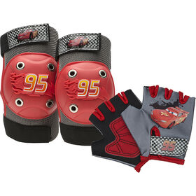 Disney Pixar Cars - Kids Bike Pad & Glove Set - Lightning McQueen