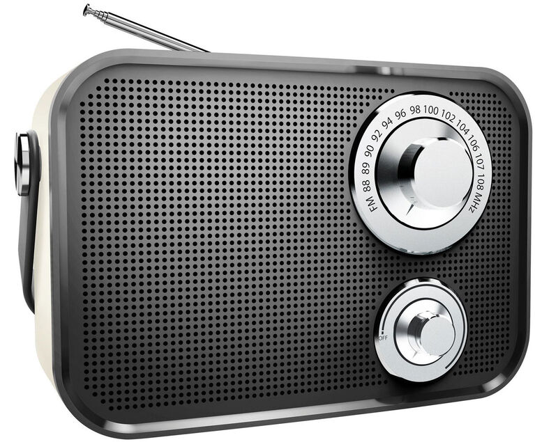 Haut-parleur Bluetooth sans fil radio FM de type rétro de Polaroid - Noir