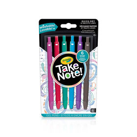 Crayola Take Note! Washable Gel Pens, 6 ct