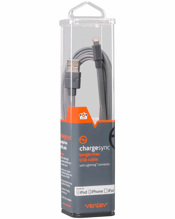 Ventev 544343 Charge/Sync Lightning Cable 6ft Gray