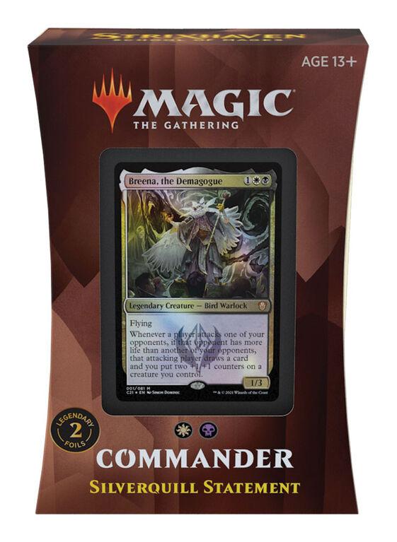 """Deck Commander – Proclamation de Plumargent """"Strixhaven: l'Académie des Mages"""" de Magic Le Rassemblement - Édition anglaise"""