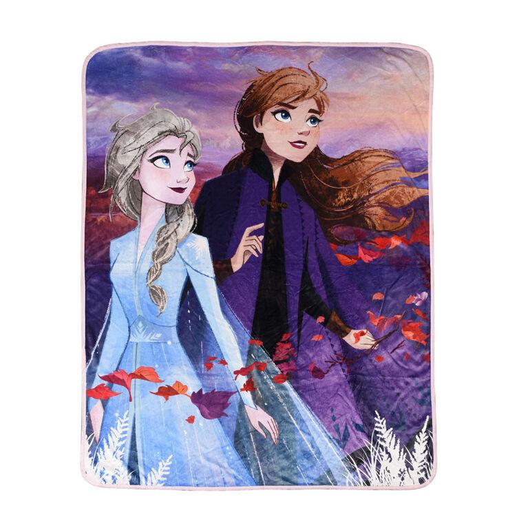 Couverture de la Reine des neiges II de Disney en peluche avec imprimé numérique