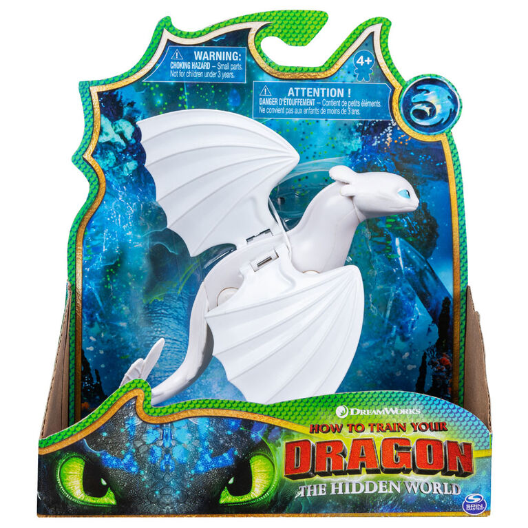 How To Train Your Dragon, Furie Nocturne blanche, figurine dragon avec pièces mobiles.