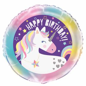"Unicorn Round Foil 18"" - English Edition"