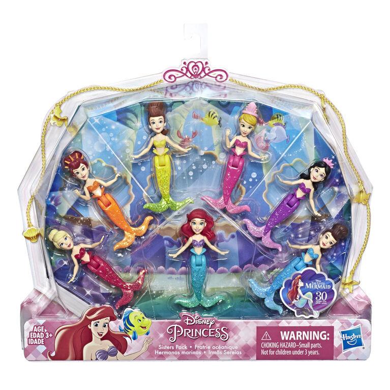 Disney Princess Ariel and Sisters Dolls, 7 Pack of Mermaid Dolls