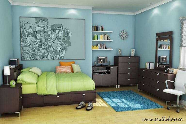 Spark Bureau double 6 tiroirs- Chocolat