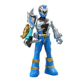 Power Rangers Dino Fury Battle Attackers - 2-Pack Blue Ranger vs. Shockhorn Kicking Action Figure Toys with Accessory