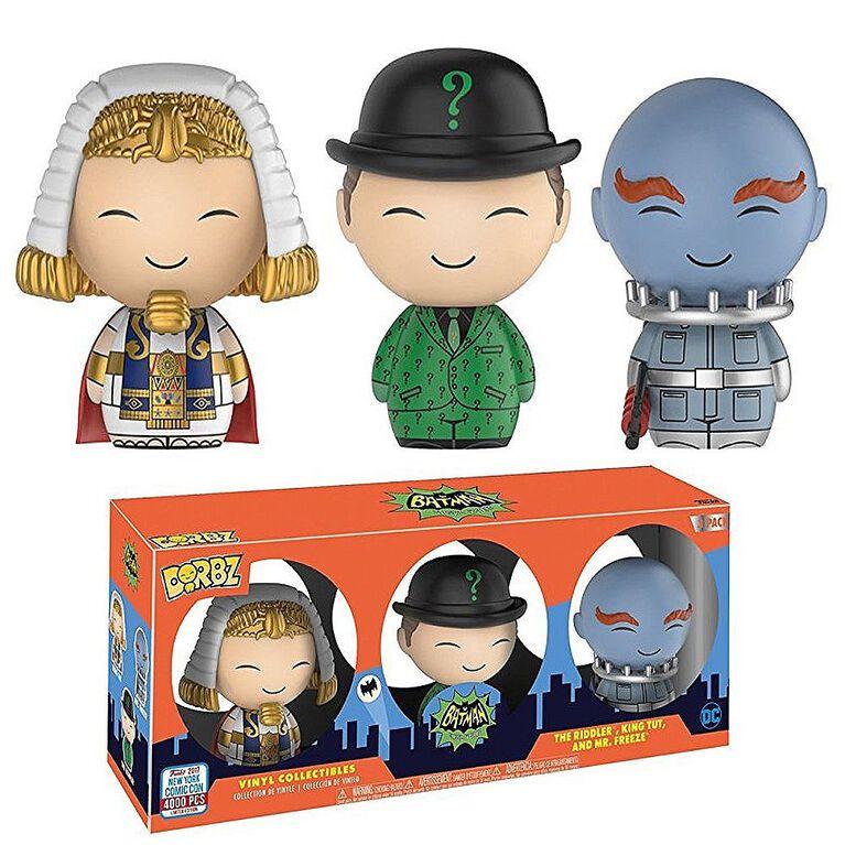 Figurines en vinyle Dorbz de Funko - Batman Classic Villains: Riddler, King Tut et Mr. Freeze (Exclusif a Toys R Us). - Notre Exclusivité