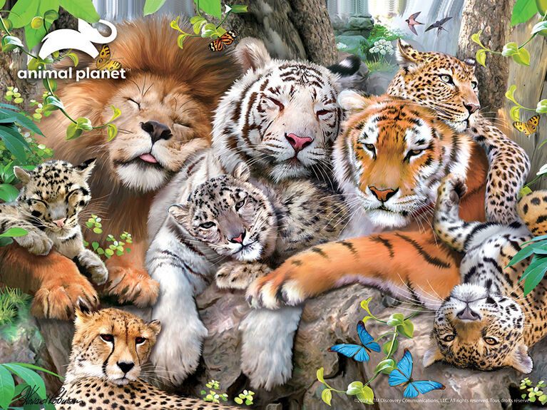 Animal Planet: Big Cats - 100 Piece 3D Puzzle with 3 Figures