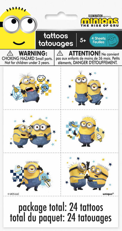 Minions Color Tattoo Sheets, 4 pieces