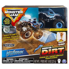 Monster Jam, Megalodon Monster Dirt Starter Set, Featuring 8oz of Monster Dirt and Official Monster Jam Truck