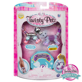 Twisty Petz - Pack de 3 - Bijoux pour enfants à collectionner Razzle Elephant, Cakepup Puppy et animal surprise