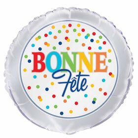 """Ballon aluminium rond, 18 """" - Polka Dot Bonne Fete - Édition française"""