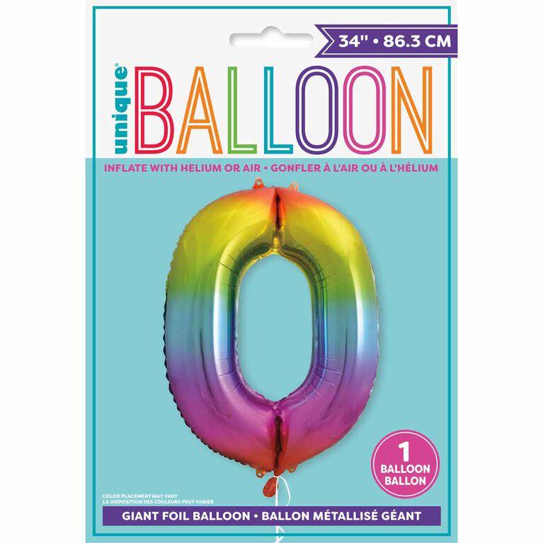 "Ballon en aluminium en forme de nombre arc-en-ciel 34 "" - 0"