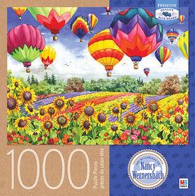 Artiste: Nancy Wernersbach – Casse-tête de 1000pièces - Montgolfières multicolores.