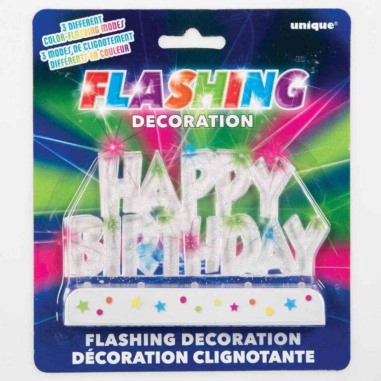 Decoration A Gateau Clignotante - ``Happy Birthday`` - Édition anglaise