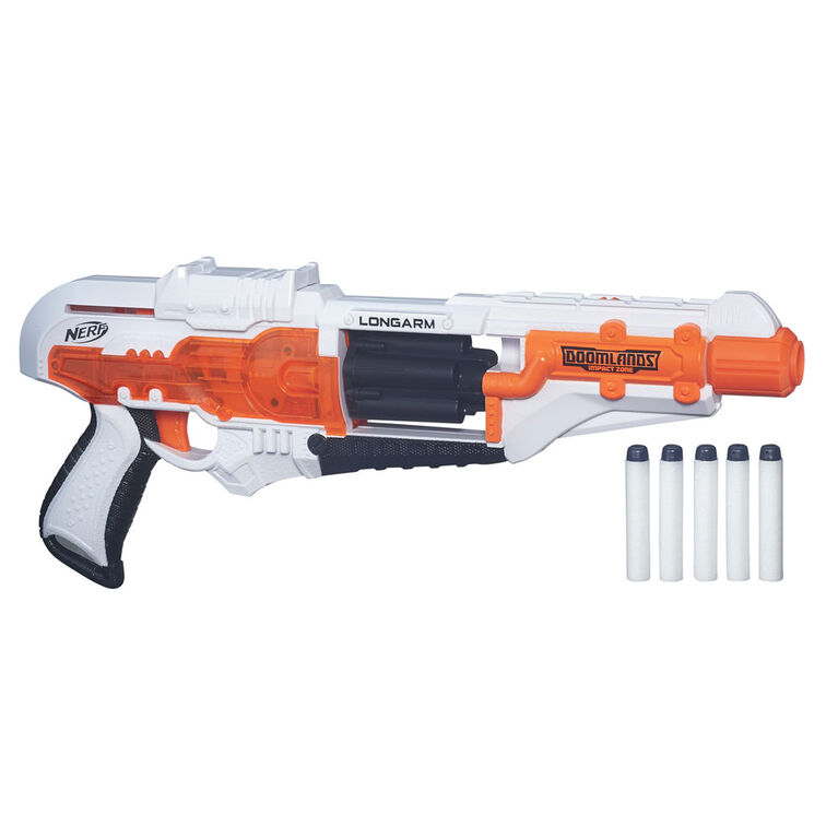 Longarm Nerf Doomlands Toy Blaster with Flip-Open Drum - R Exclusive