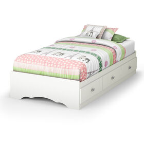 Tiara Mates Platform Storage Bed with 3 Drawers- Pure White
