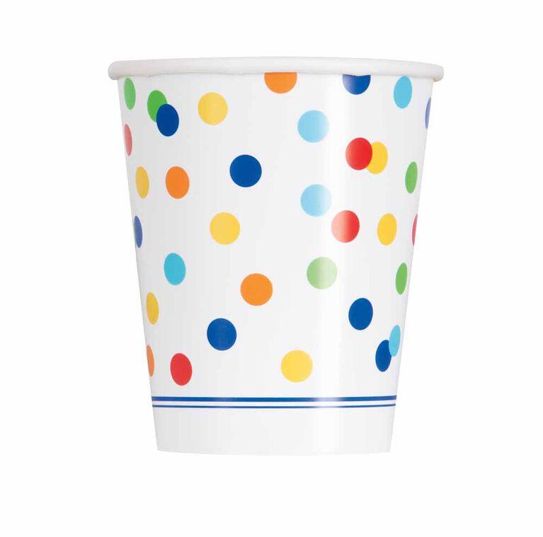 Rainbow Polka Dots 9on Gobelets, 8un