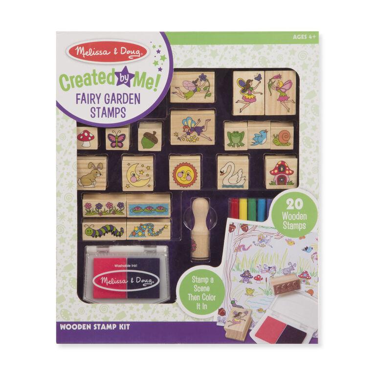 Melissa & Doug Créé par moi! Kit de timbres Jardin de fées en bois