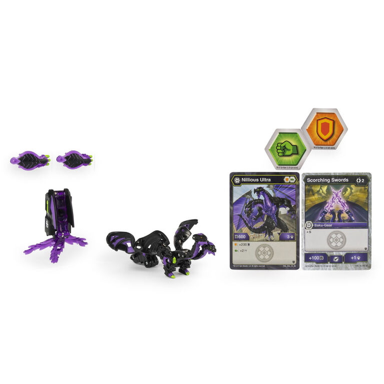 Bakugan Ultra, Nillious with Transforming Baku-Gear, Armored Alliance 3-inch Tall Collectible Action Figure