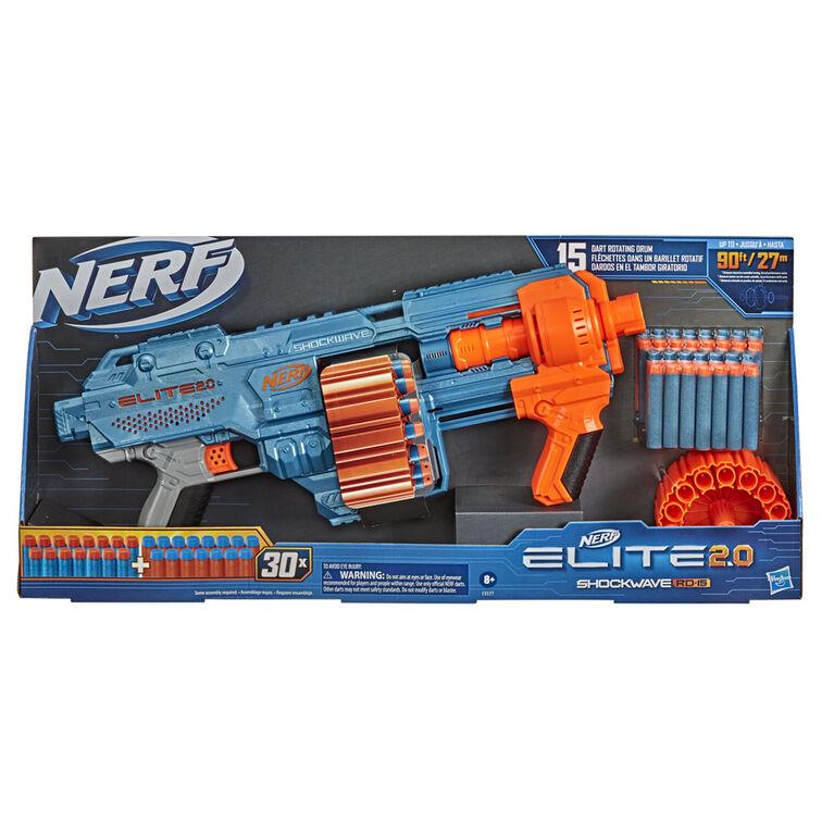 Nerf Elite 2.0 Shockwave RD-15 Blaster, 30 Nerf Darts, 15-Dart Rotating Drum, Pump-Action Slam Fire