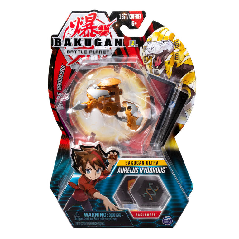Bakugan Ultra Ball Pack, Aurelus Hydorous, 3-inch Tall Collectible Transforming Creature