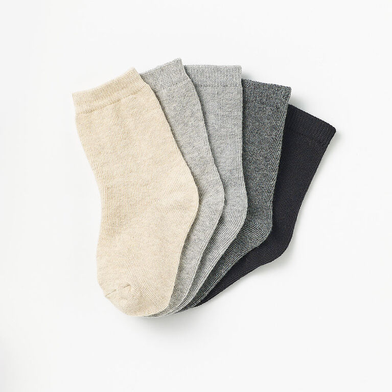 basic crew socks, 2-3y - black