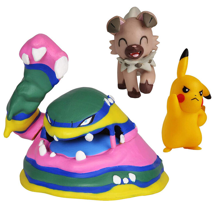 "Pokémon Battle Figure Set 3-Pack, 2"" Pikachu, 2"" Rockruff, and 3"" Alolan Muk"