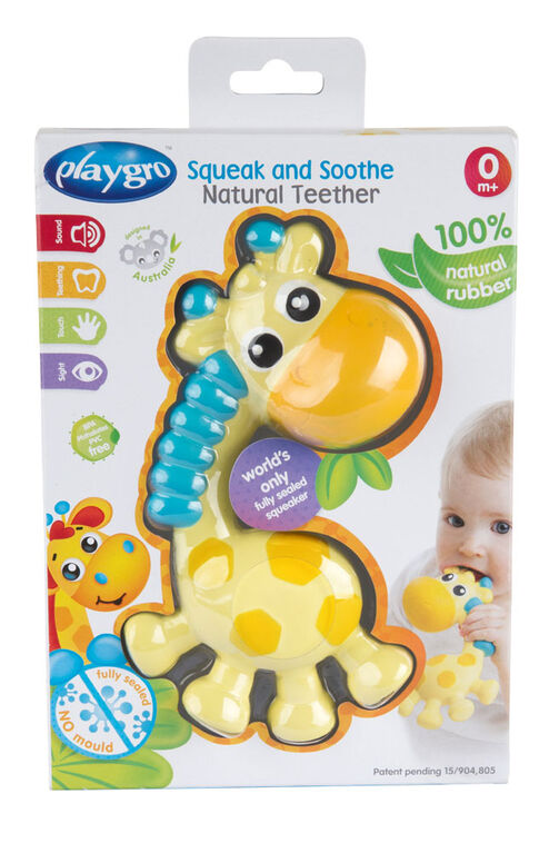 Playgro - jouet de dentition naturel Squeak and Soothe