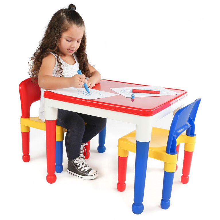 Tot Tutors - 2 in 1 Plastic Construction Activity Table & Chairs Set