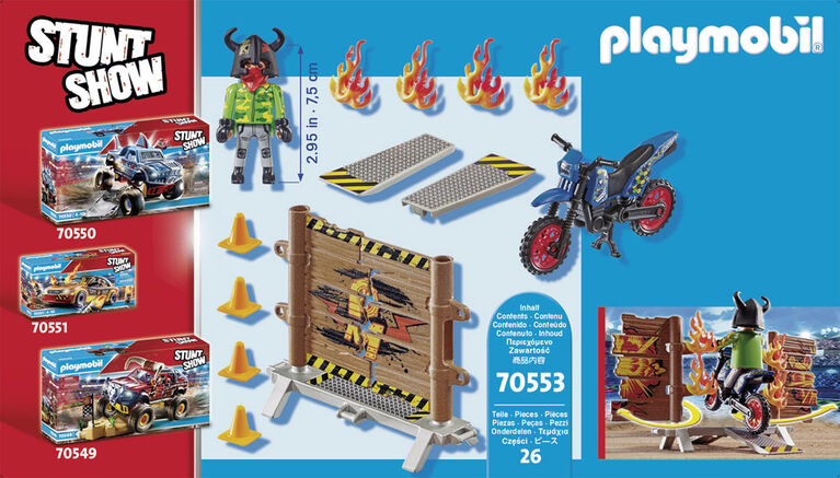 Playmobil - Stuntshow Pilote de moto et mur de feu