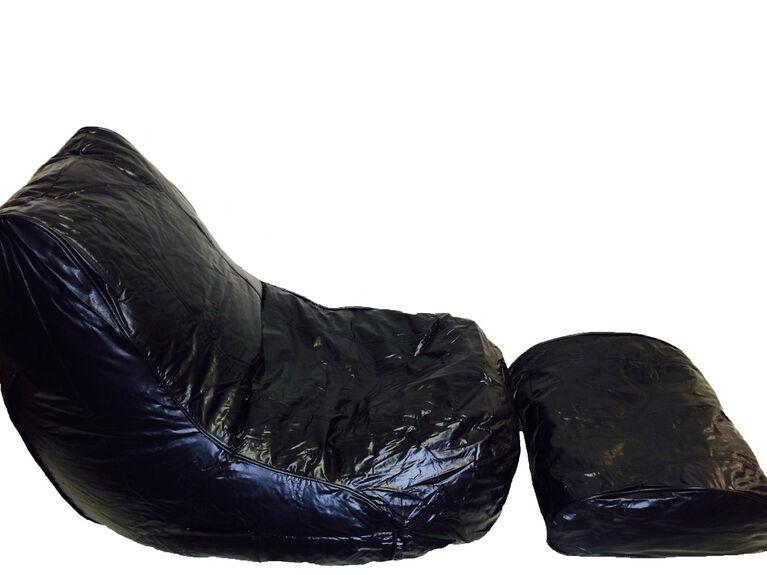 Boscoman - Vinyl Bean Bag Lounger w/Footrest - Black