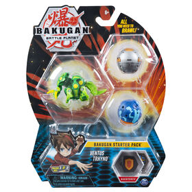 Bakugan Starter Pack 3-Pack, Ventus Trhyno, Collectible Action Figures