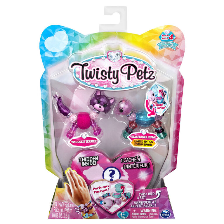 Twisty Petz, Series 4 3-Pack, Snugglie Terrier, Starflower Hippo and Surprise Collectible Bracelet Set