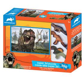 Planète Animale - T-Rex - 100 pc Casse-tête Super 3D avec 3 figurines