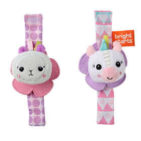 Rattle & Teethe Wrist Pals Toy - Unicorn & Llama