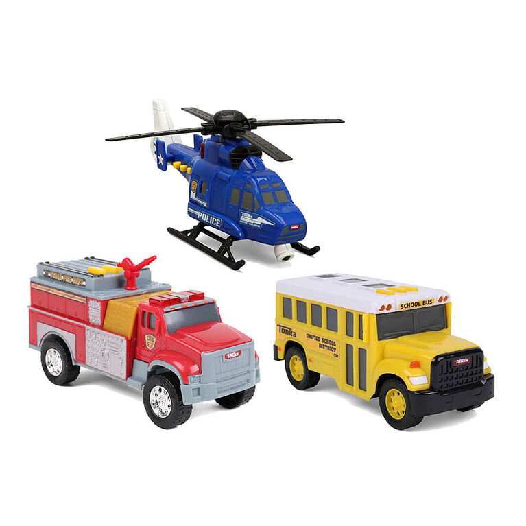 Tonka Diecast Urban 3 Pack - School Bus, Police Rescue Helicopter and Fire Pumper