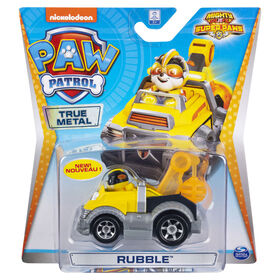 PAW Patrol, True Metal Mighty Rubble Super PAWs Collectible Die-Cast Vehicle, Mighty Series 1:55 Scale