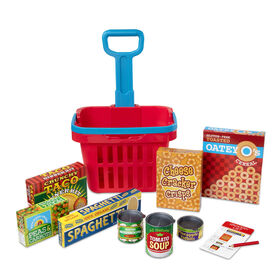 Melissa & Doug Fill and Roll Grocery Basket Play Set With Play Food Boxes and Cans - 11 pieces