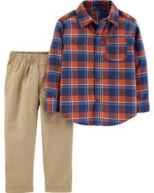 Carter's 2-Piece Plaid Button-Front Shirt & Khaki Pant Set - Red/Khaki, 9 Months