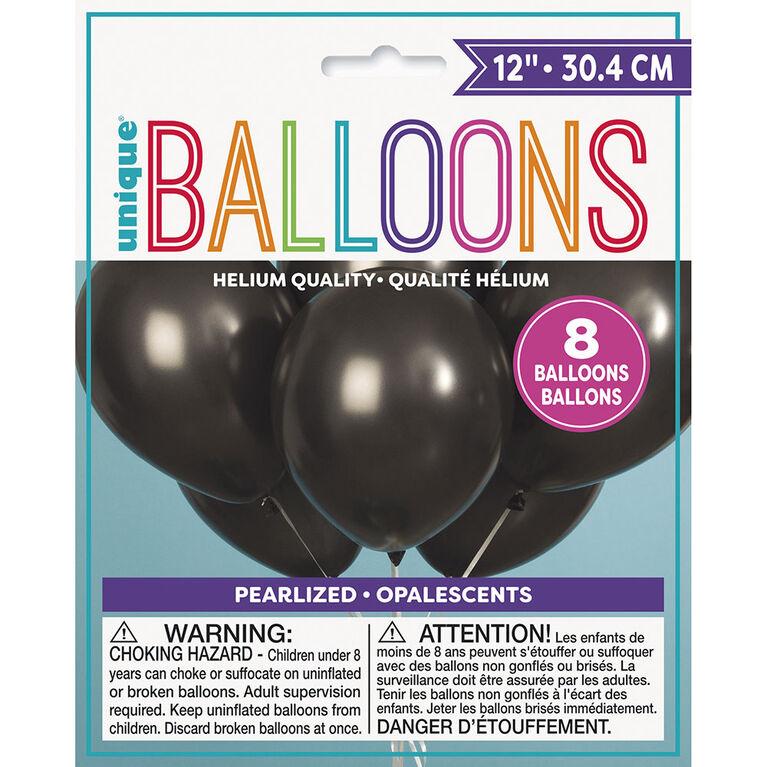 8 Ballons Nacres 12 Po - Noir Ombre