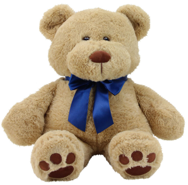 "Animal Adventure 13"" Seated Ultra-Soft Plush Bear with a Blue Ribbon"