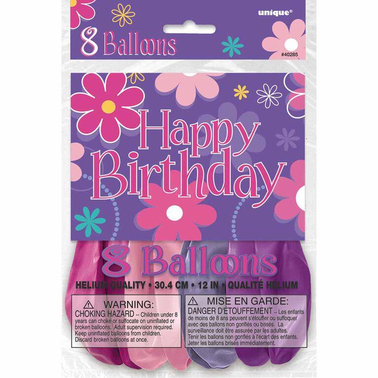 "Birthday Blossoms 12"" Ballons, 8un - Édition anglaise"