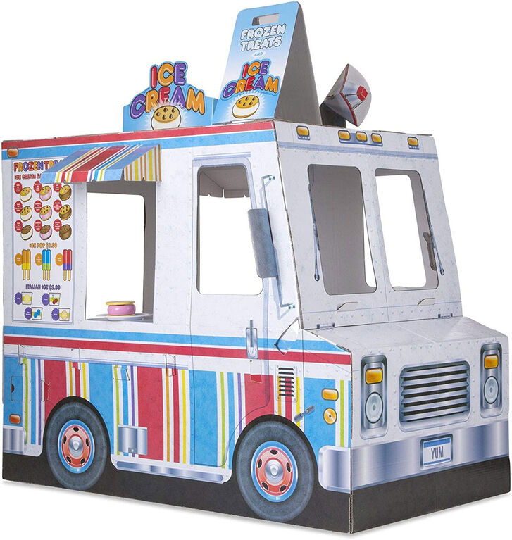Melissa & Doug - Food Truck Fabric Play Tent Playhouse and Storage Tote - Ice Cream on 1 Side, BBQ on the Other