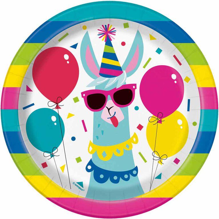 "Llama Birthday  7""   Plates, 8 pieces"