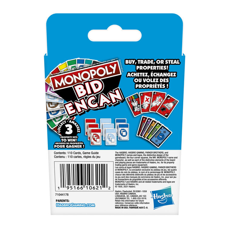 Monopoly Bid Game, Quick-Playing Card Game