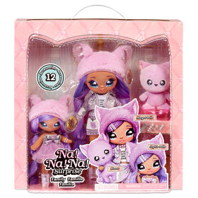Na Na Na Surprise Family Soft Doll Set of 3 with 2 Fashion Dolls and 1 Pet - Lavender Kitty