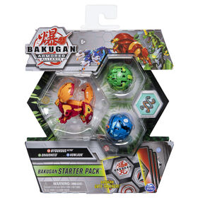 Bakugan, Starter Pack 3 personnages, Hydorous Ultra, Figurines Armored Alliance articulées à collectionner