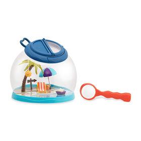 B. toys, Tiki Retreat, Bug House and Magnifier